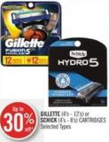 Gillette (4's - 12's) or Schick (4's - 8's) Cartridges