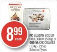 PC Belgian Biscuit Collection (500g) or Godiva Chocolates (134g - 215g)