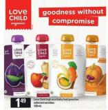 Love Child High Acid Baby Food Pouches - 128 mL