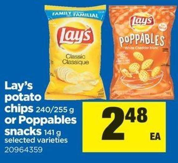 Lay's Potato Chips - 240/255 G Or Poppables Snacks - 141 G