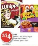 Dare Whippet Biscuits (250g) or Bear Paws Cookies