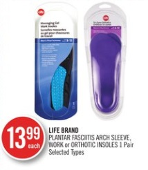 LIFE BRAND PLANTAR FASCIITIS ARCH SLEEVE, WORK or ORTHOTIC INSOLES 1 Pair