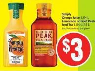 Simply Orange Juice 1.54 L Lemonade or Gold Peak Iced Tea 1.54-1.75 L