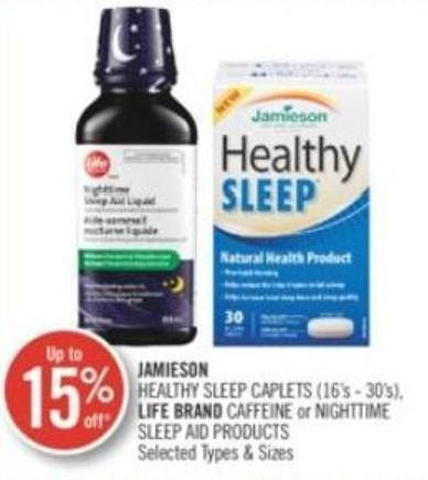 Jamieson Healthy Sleep Caplets (16's - 30's) Life Brand Caffeine or Nighttime Sleep Aid Products