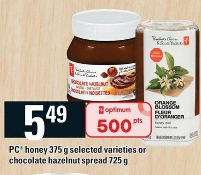 PC Honey 375 G Or Chocolate Hazelnut Spread 725 G