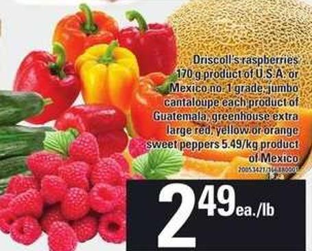 Driscoll's Raspberries - 170 G - Jumbo Cantaloupe Each  - Greenhouse Extra Large Red - Yellow Or Orange Sweet Peppers