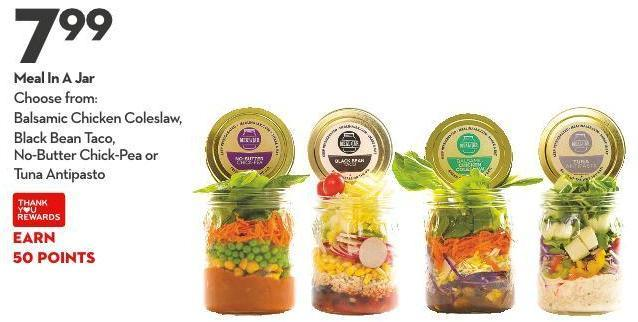 Meal In A Jar Choose From: Balsamic Chicken Coleslaw - Black Bean Taco -  No-butter Chick-pea or Tuna Antipasto