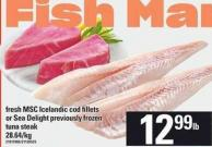 Fresh Msc Icelandic Cod Fillets Or Sea Delight Previously Tuna Steak