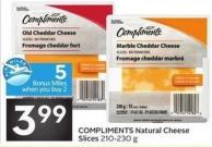 Compliments Natural Cheese Slices 210-230 g - 5 Air Miles Bonus Miles