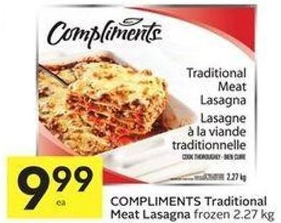 Compliments Traditional Meat Lasagna Frozen 2.27 Kg