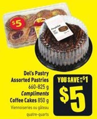 Del's Pastry Assorted Pastries 660-825 g Compliments Coffee Cakes 850 g