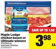 Maple Lodge Chicken Bacon Or Ultimate Wieners - 375/900 G