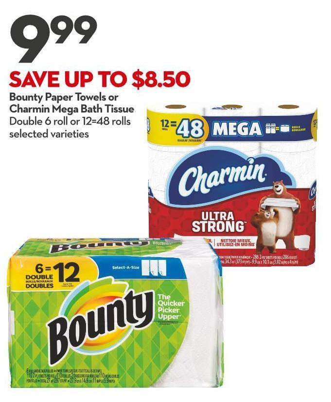 Bounty Paper Towels or Charmin Mega Bath Tissue