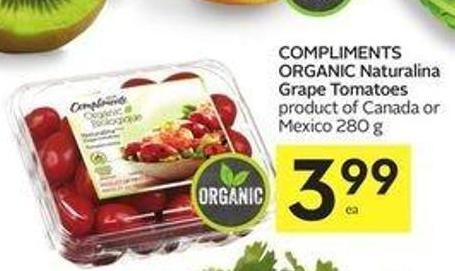 Compliments Organic Naturalina Grape Tomatoes