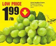 Green Seedless Grapes Product of Mexico No. 1 Grade 4.39/kg