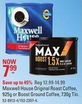 Maxwell House Original Roast Coffee - 925g or Boost Ground Coffee - 730g Tin