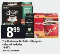 Tim Hortons Or Mccafe Coffee PODS - 10-14's