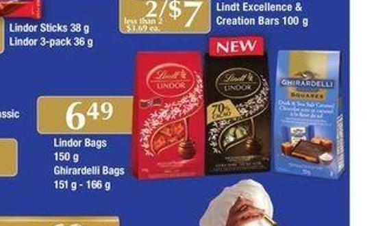 Lindor Bags - 150 g Ghirardelli Bags - 151 g - 166 g