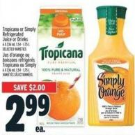 Tropicana Or Simply Refrigerated Juice Or Drinks 6 X 236 ml - 1.54 - 1.75 L