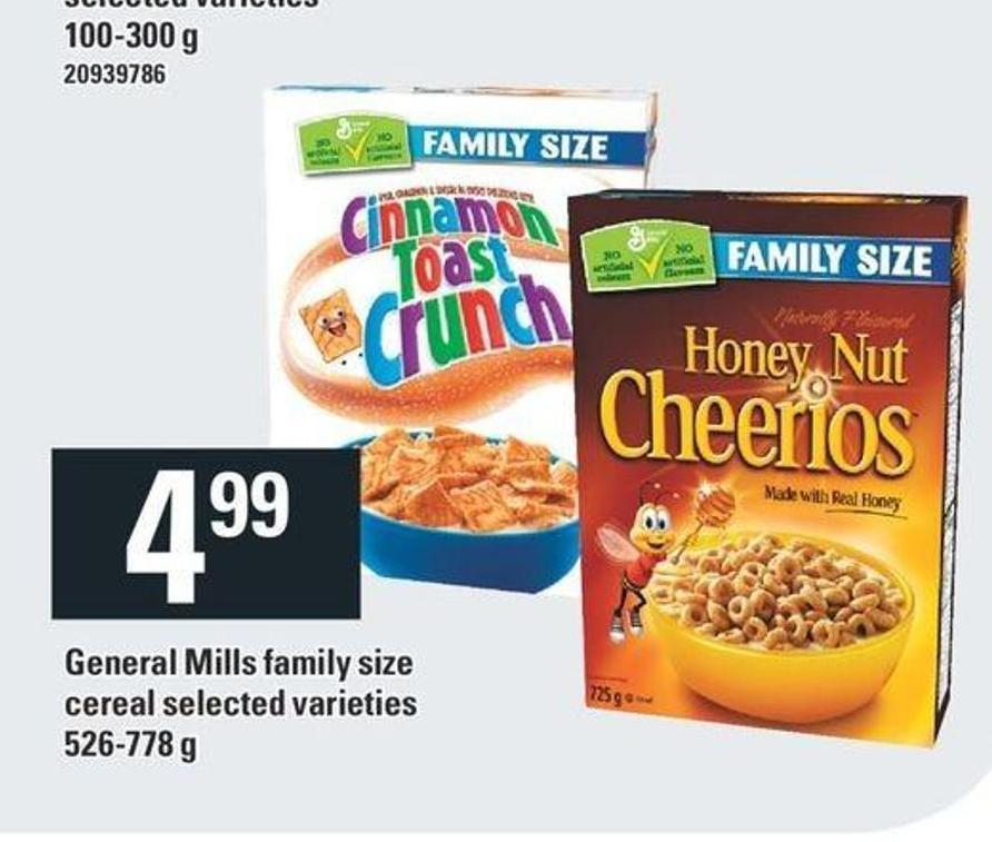 General Mills Family Size Cereal - 526-778 g