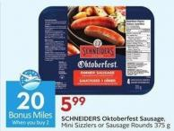 Schneiders Oktoberfest Sausage Mini Sizzlers or Sausage Rounds 375 g - 20 Air Miles Bonus Miles