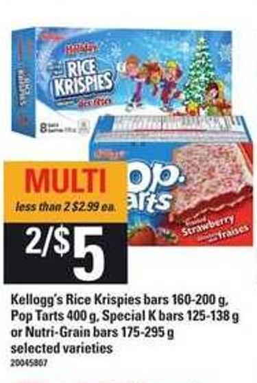 Kellogg's Rice Krispies Bars - 160-200 G - Pop-tarts - 400 G - Special K Bars - 125-138 G Or Nutri Grain Bars - 175-295 G