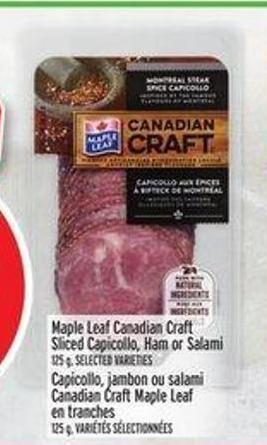 Maple Leaf Canadian Craft Sliced Capicollo - Ham Or Salami