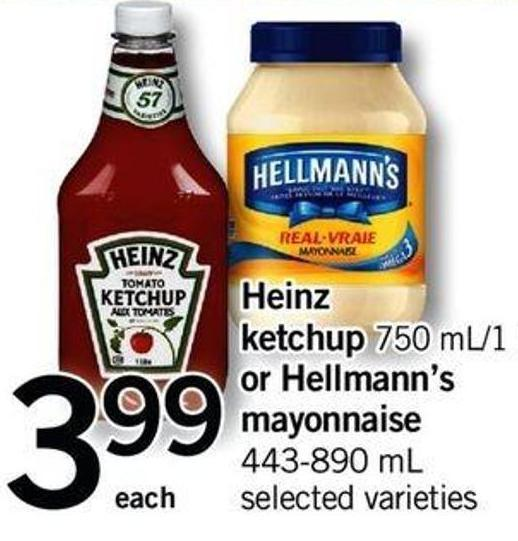Heinz Ketchup - 750 Ml/1 L Or Hellmann's Mayonnaise - 443-890 Ml