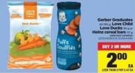 Gerber Graduates 42-192 G - Love Child Love Ducks 30 G Or Heinz Cereal Bars 117 G
