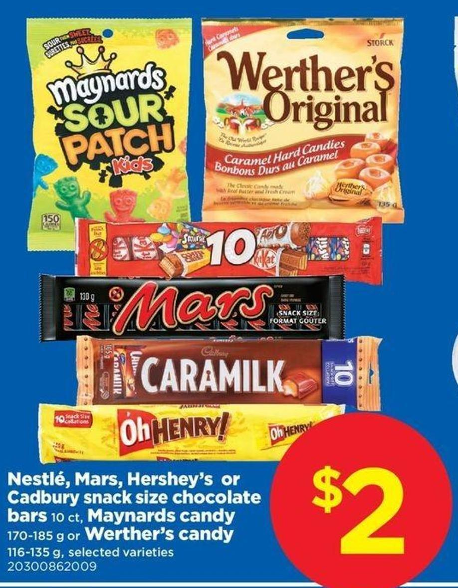 Nestlé - Mars - Hershey's Or Cadbury Snack Size Chocolate Bars - 10 Ct - Maynards Candy - 170-185 G Or Werther's Candy - 116-135 G