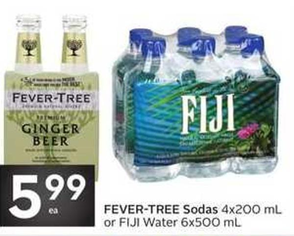 Fever-tree Sodas 4x200 mL or Fiji Water 6x500 mL