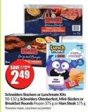 Schneiders Stackers or Lunchmate Kits 90-132 g Schneiders Oktoberfest - Mini-sizzlers or Breakfast Rounds Frozen 375 g or Ham Steak 175 g