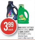 Gain Fabric Softener Sheets (120's) - Cheer or Gain Laundry Detergent (1.47l)