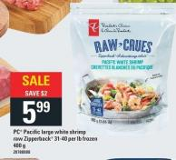 PC Pacific Large White Shrimp Raw Zipperback 31-40 Per Lb - 400g