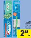 Crest Premium Toothpaste - 75-130 mL or Oral-b Toothbrush