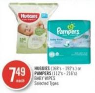 Huggies (168's - 192's ) or  Pampers (112's - 216's) Baby Wipes