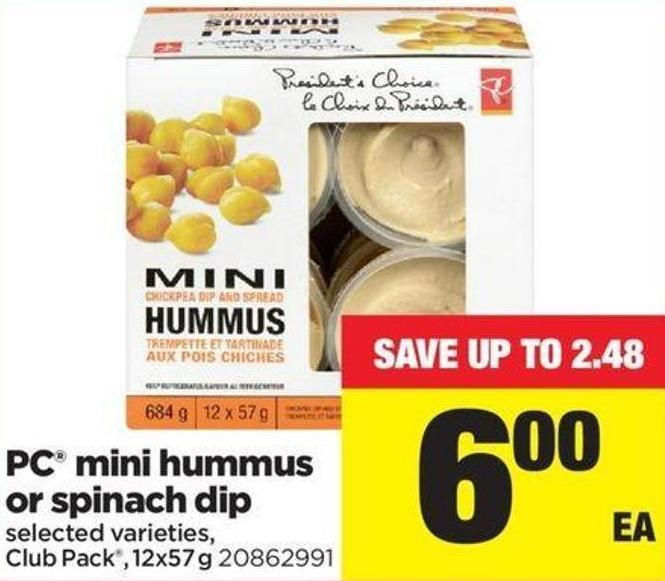 PC Mini Hummus Or Spinach Dip - Club Pack - 12x57 g