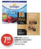 Kind Minis (10's) or Sunrype Fruitsource Fruit (12's) Bars