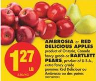Ambrosia or Red Delicious Apples or Bartlett Pears