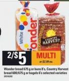 Wonder Bread - 675 G Or Buns 8's - Country Harvest Bread - 600/675 G Or Bagels - 6's
