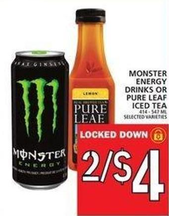 Monster Energy Drinks Or Pure Leaf Iced Tea