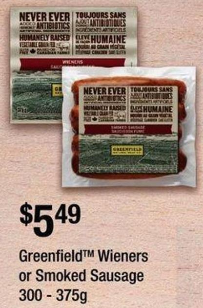 Greenfieldtm Wieners Or Smoked Sausage - 300 - 375g