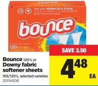Bounce 120's Or Downy Fabric Softener Sheets 105/120's