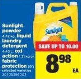 Sunlight Powder - 4.42 Kg - Liquid Laundry Detergent - 4.43 L - Oxi Action - 1.21 Kg Or Fabric Protection - 50's