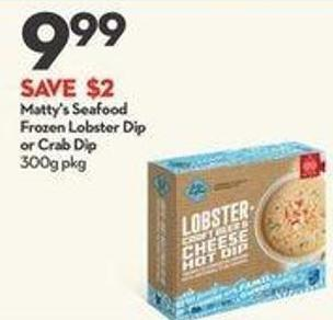 Matty's Seafood Frozen Lobster Dip or Crab Di