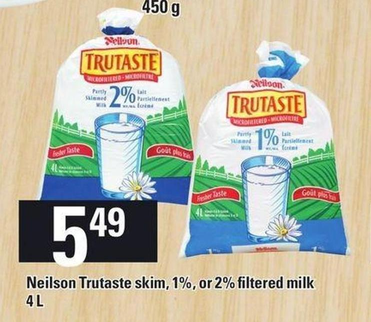 Neilson Trutaste Skim - 1% - Or 2% Filtered Milk 4 L