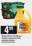 Danone Activia 12x100 G Or Simply Orange Juice 2.63 L