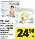 PC Club Size - 112-180's Or PC Green - 60-90's - Super Big Pack Diapers