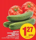 English Cucumbers - Each or Beefsteak Tomatoes - 2.80 Kg