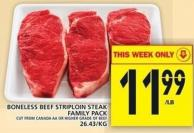 Boneless Beef Striploin Steak Family Pack